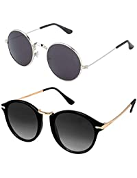 Y&S UVA UVB Protected Unisex Black Sunglasses for Mens Womens Boys Girls (Round-Black-Combo)