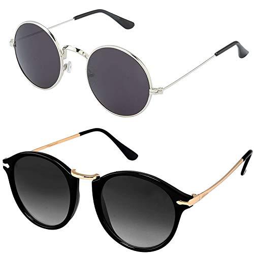 90aa1b64625 Y S UVA UVB Protected Unisex Black Sunglasses for Mens Womens Boys Girls ( Round-Black-Combo)