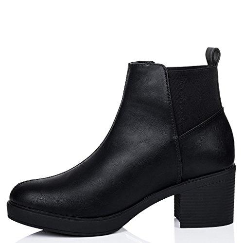 SPYLOVEBUY POPCORN Femmes à Talon Bloc Chelsea Boots Bottines Noir - Similicuir