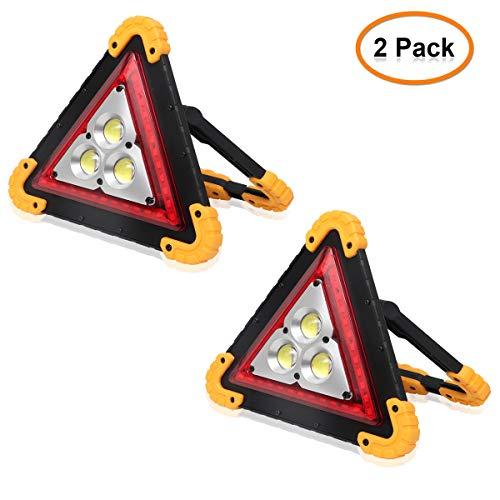Dreieck-Arbeitslicht, Lemonbest 30W Notfallwarnlampe USB wiederaufladbar für Auto Home Notfallwarnlampe (Pack of 2X) - 3-wege-blinklicht