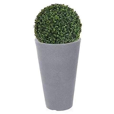 Pot de fleurs rond plantes en rotin Effet pierre artificielle