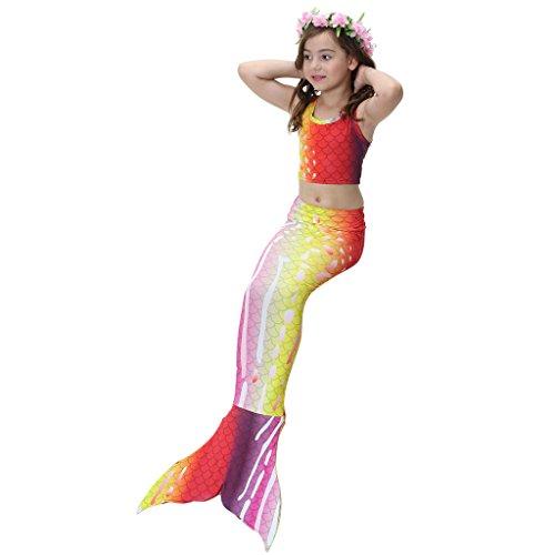 Süßes 3PCS Meerjungfrau/ Mermaid Schwanz Badeanzüge Bademode Bikini Anzüge Set für Kinder (Anzüge Mermaid)