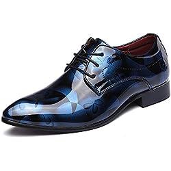 Zapatos Oxford Hombre, Cuero Cordones Vestir Derby Calzado Boda Negocios Marron Azul Gris Rojo 37-50EU BL45