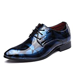 Idea Regalo - Scarpe Uomo Pelle, Derby Stringate Basse Elegante Sera Oxford Vintage Verniciata Marrone Blu Grigio Rosso 37-50EU BL43