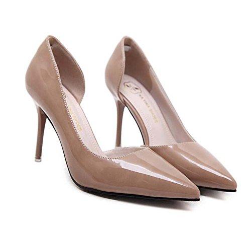 Pump 8,5 cm Scarpin Spitz D'orsay High Heels Kleid Schuhe Hochzeit Schuhe Gericht Schuhe Eu Größe 34-40 ( Color : Beige , Size : 34 )