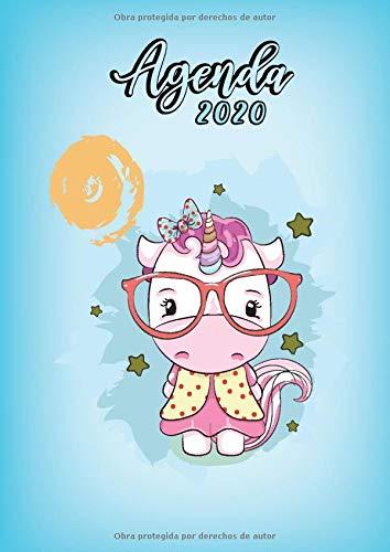 Agenda 2020: Tema Unicornios Agenda Mensual y Semanal + Organizador Diario I Planificador Semana Vista A4 Color Azul