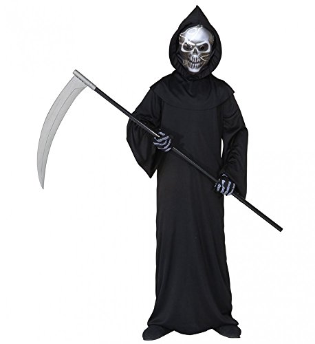 Grim Ein Reaper Kostüm - 3-teiliges Kinder-Kostüm Grim Reaper Sensenmann Totenkopf Halloween Jungen Tod, Kindergröße:158