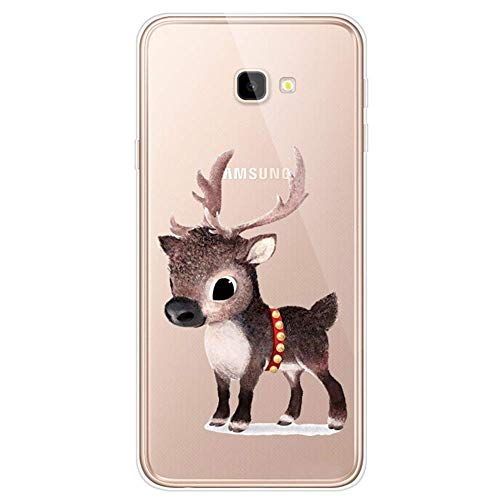 Uposao Kompatibel mit Samsung Galaxy J4 Plus 2018 Hülle Silikon Ultra Dünn Durchsichtige Handyhülle Crystal Clear Case Transparent Mit Bunt Muster Kratzfest TPU Bumper Handytasche,Braun Hirsch