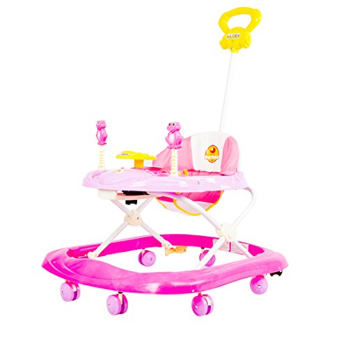 Baybee Stylish Baby Walker Music & Light Function With 3 Position Height Adjustable With Control Push Bar (Pink)