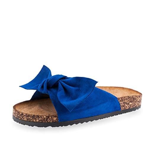 Damen Sommer Pantoletten Sandalen mit Plateau Neon Blau 37