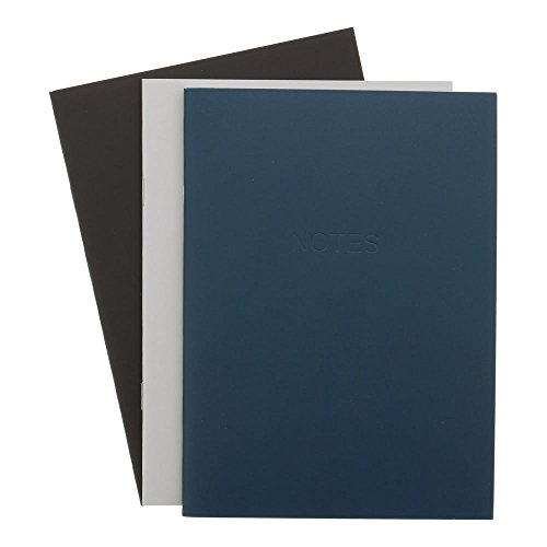 Art Alternatives Everyday Soft Cover Notebooks, One Each Navy, Gray and Black, 48 Pages Each, 3.5 x 5 inches (AAJE00018) - Black Navy Notebook