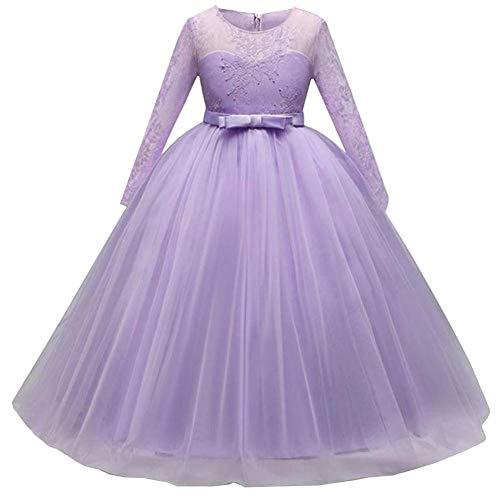 QINJLI Mädchen Long Sleeve Lace Kleid Kleid Langen Bogen Kleid Geburtstag Halloween Weihnachten Tag Party Ball