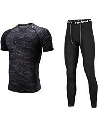 Lvguang Uomo Fitness Palestra Completi Sportivi Abbigliamento Sportivo  Compressivo Maglie e T-Shirt Pantaloni Collant d4ea5ebe31c