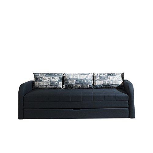 Mirjan24  Schlafsofa Rafael B, Sofa Couch mit Bettkasten und Schlaffunktion, Bettsofa Kissenmuster, Schlafcouch, Gästebett Schlafzimmer (Lux 08 + Foto Route 65)