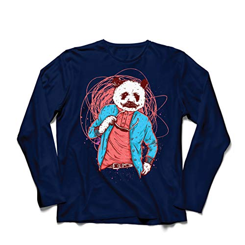 lepni.me Langarm Herren T Shirts Schicker Pandabär - Coole Grafik, Swag Mode (Large Blau Mehrfarben)