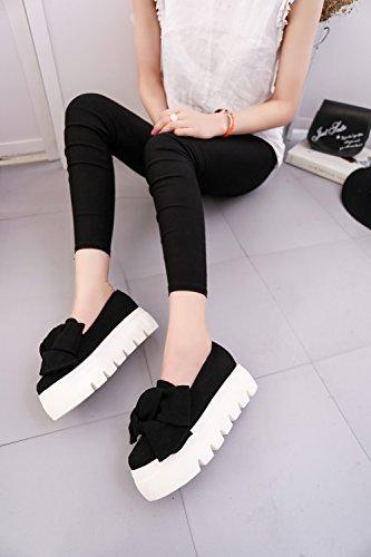 Zapatos De Playa Para Mujer Plataforma De Moda Cuña Alpargatas De Tacón 5 Cm Negro Verde Rojo 35-39 Negro