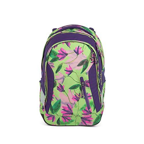 Satch Sleek Ivy Blossom, ergonomischer Schulrucksack, 24 Liter, extra schlank, Grün -