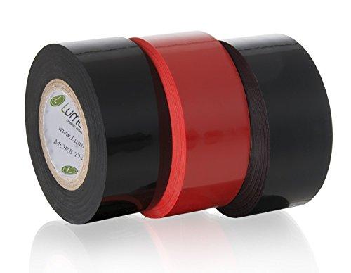 Nastri Bondage Deluxe (3 pezzi), Nastri per caviglie, facili da indossare e rimuovere, lunghezza 20 metri, confezione regalo compreso, giocattoli sessuali SM per coppie (colori nero e rosso)
