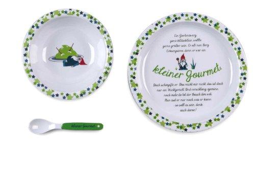 Kjomizo Coffret vaisselle en mélamine décorée d'une histoire drôle pour enfant Assiette Bol et Cuillère Livrés dans un coffret cadeau