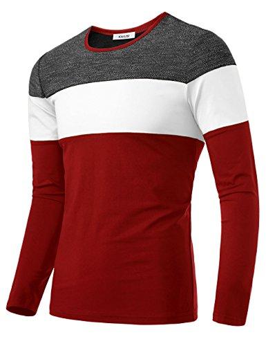 Long Sleeve Knit Tee (KAIUSI Herren Basic Rundhals Streifen Pullover Langarmshirt Weiss-Rot Small)