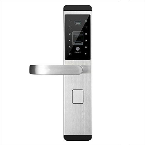 LF Türschloss Digital Fingerprint/Passwort/Schlüssel/Kartenschloss Elektronische Smart Türschlösser für Home Office (Farbe : Silber, größe : A)