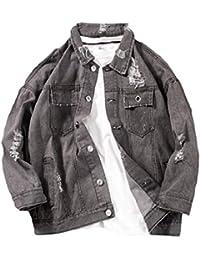 WQ&EnergyMen Men Detachable with Hood Denim Fashion Casual Holes Jean Jacket