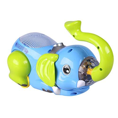 holitie Musikbabyspielzeug 360 °, das Eimerelefantenauto kriechendes elektrisches Universalrad des Babys sensorisches Spielzeug kriecht, 360 Grad Lichtmusik Mini dekorationkind Geschenk Auto Modell