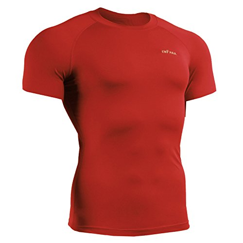 emFraa Homme Femme Sport Compression Red Base layer Shirt Short sleeve S~XL Red