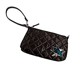 NHL San Jose Sharks Quilted Wristlet, Black