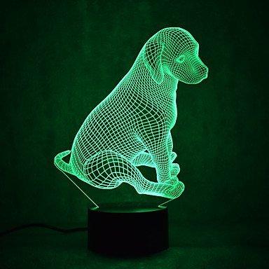 3D Hunde Optische Illusions-Lampen, Tolle 7 Farbwechsel Acryl berühren Tabelle Schreibtisch-Nachtlicht mit USB-Kabel für Kinder Schlafzimmer Geburtstagsgeschenke Geschenk (Ein Vogel In Der Hand)