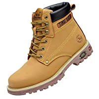 Men Solid Lace up Sneakers, Male High-Top Work Shoes Non-slip Casual Sport Shoes