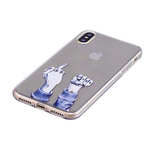 Custodia iPhone X Cover, JAWSEU iPhone X Cassa Caso Custodia Trasparente Flessibile Antiurto Colorato Cristallo Ultra Sottile Morbido TPU Gel Silicone Case Cover per iPhone X Gomma Clear Custodia Prot Dito