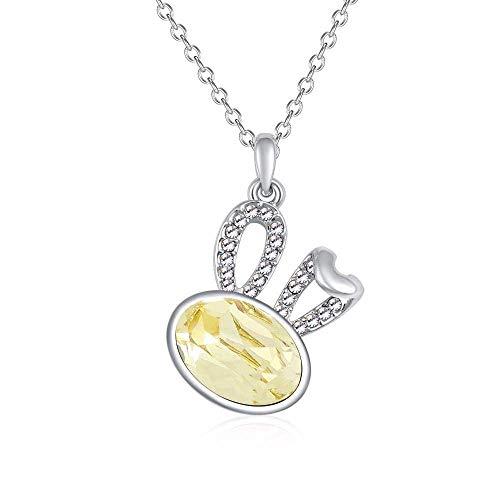 MingXinJia Mode Anhänger Damen Halskette Halskette Weiblichen Kristall Anhänger Glück Gebogenes Ohr Kaninchen Halskette Halskette Schmuck für Frauen und Mädchen, 3# - Drei Tier-gebogen