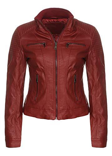 Malito Donna Giacca Biker Similpelle Giacca Sakko Blazer 5179 (Rosso, S)