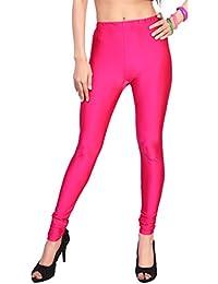 Comix Women Cotton Lycra Fabric Comfort Fit Ankle Length Plain Leggings (Deep Pink,XL)