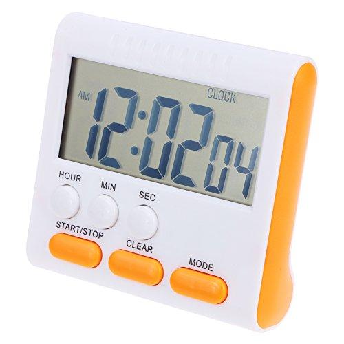 Ahomi - Reloj despertador de cocina digital multifunción con pantalla LCD naranja