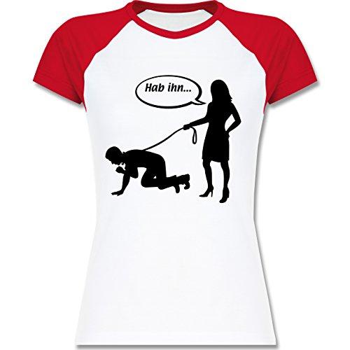 JGA Junggesellinnenabschied - Hab Ihn an der Leine - zweifarbiges Baseballshirt / Raglan T-Shirt für Damen Weiß/Rot