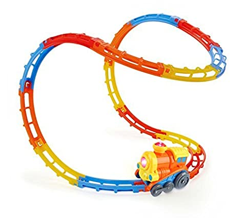 SainSmart Jr. Tumble Track Train Play Set, with Lights and Sound, Roller Coaster Rails, Sucker Included, 23 Pieces