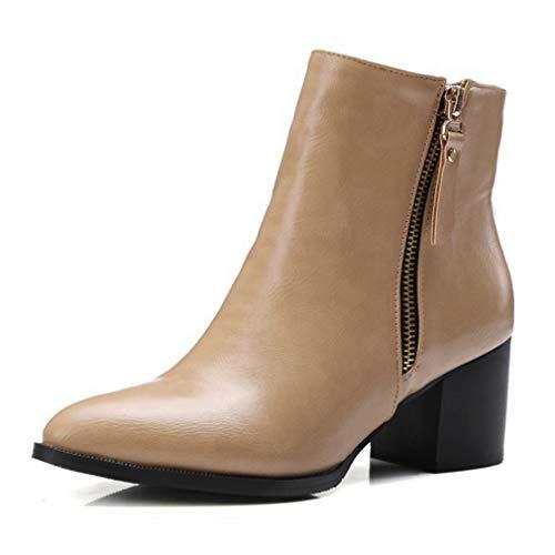 POLLYEDEN Women's Wide Width Short Boots Double Zipper Mid Chunky Block Heel Ankle Booties Zipper Jump Boot