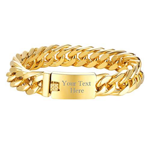 PROSTEEL Armkette personalisiert 19cm Herren Panzerkette Armband Name Texte Gravur 18k vergoldet 16,5mm schwer Gliederkette Hip Hop Rapper Stil Armschmuck Geschenk für Männer Jungen Vatertag