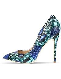 438f4e6deb Las Mujeres Sexy Zapatos de tacón Alto Que Azul Serpiente Impreso Zapatos  Fiesta tacón tacón señaló