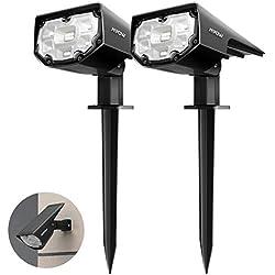 【2 Pack 12 LED】 Mpow Spot Solaire Extérieur, Lampes Solaires Etanche IP67 Projecteur Solaire Réglable avec Panneau Solaire 180° Eclairage Extérieur Solaire pour Jardin, Extérieur, Chemin, Allée