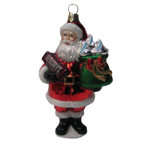 Hershey Kurt Adler Glas Santa mit Hershey Bar Ornament, 12,7cm -