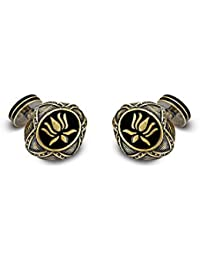 ROHIT BAL Grey Bronze Toned Lotus Pattern Cufflinks