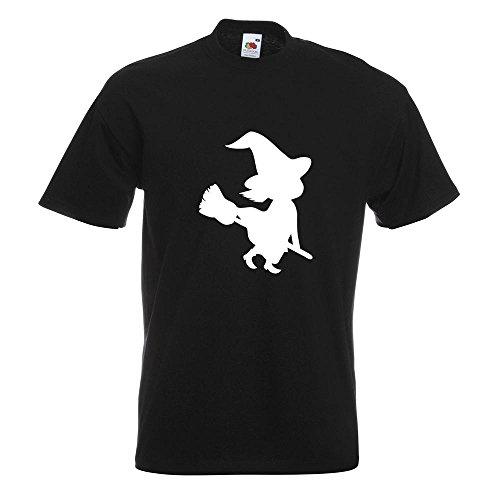 Besen Halloween Grusel Horror T-Shirt in 15 verschiedenen Farben - Herren Funshirt bedruckt Design Sprüche Spruch Motive Oberteil Baumwolle Print Größe S M L XL XXL (Halloween-fliegen-hexe)