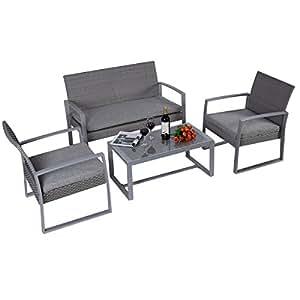Set Gartenmöbel, Rattan, für den Garten, 4 Stück Garten, Sofa Tisch Couchtisch Glastisch Wohnzimmer Sofa, Sessel