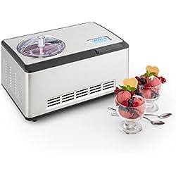Klarstein Dolce Bacio Heladera • Máquina para hacer helado • Heladera de compresión • Helados, sorbetes, yogures • Envase térmico de 2L • Pantalla LCD táctil • Temporizador • Acero inoxidable • Plata