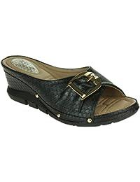 Mujer Señoras Punto de presión Suave Flexible Masaje Verano Ligero Ponerse Tacón de cuña Sandalias Zapatos tamaño