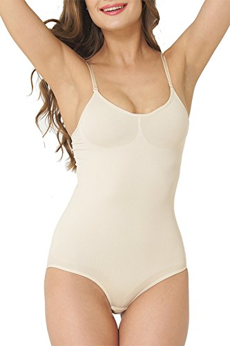 UnsichtBra Shapewear Damen Bauch Weg Body   Bauchweg Unterwäsche mit Korsett - Funktion   Bodyshaper für Frauen in schwarz und beige (sw_0800)(M (40-46), Beige)