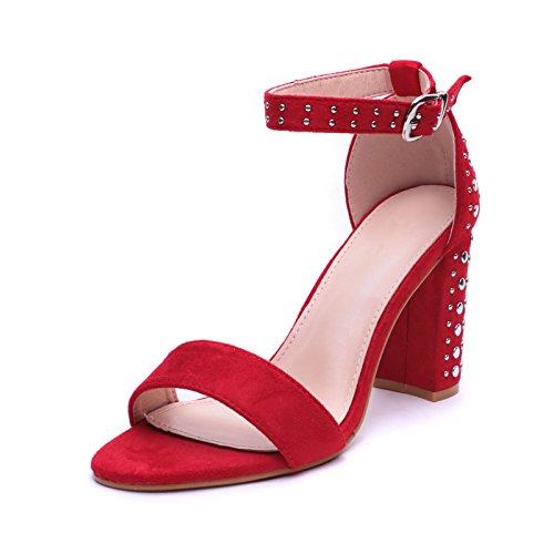 Mforshop scarpe donna sandali eco pelle scamosciata tacco largo 9 borchie cinturino a09-1 - rosso, 38